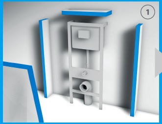 Rozmierzyć płytę czołową zaczynając od przyłożenia do otworów w zestawie podtynkowym, który jest prawidłowo umocowany.
