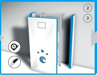 Po uwzględnieniu poziomu posadzki i ostatecznej wysokości zestawu odciąć nadmiar materiału. Zaznaczyć na płycie czołowej miejsce na przycisk i wyciąć otwór.